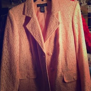 Dialogue Jackets & Coats - Peach blazer with texted flower design